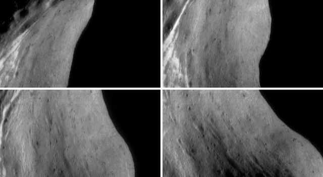 This image of asteroid Eros, taken by NASA's NEAR Shoemaker on Oct. 7, 2000, shows a feature track aimed at the inside of Eros' saddle region.