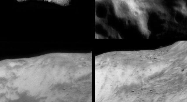 Two images of asteroid Eros, taken by NASA's NEAR Shoemaker on Feb. 12 and April 2, 2000, show several smaller crater in its southern section and boulder and fine, dark streaks pointed downslope within the bright material.