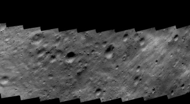 This image of asteroid Eros taken on Oct. 26, 2000, by NASA's NEAR Shoemaker shows a surface covered in rocks of all sizes and shapes, set on a gently rounded surface. Other regions are smooth, suggesting accumulation of fine regolith.