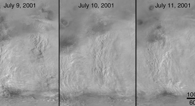 NASA's Mars Global Surveyor shows the Daedalia/Claritas/Syria storm dust plumes on Mars revealing a general pattern of regional storm centers beneath an ever-spreading veil of stratospheric dust.
