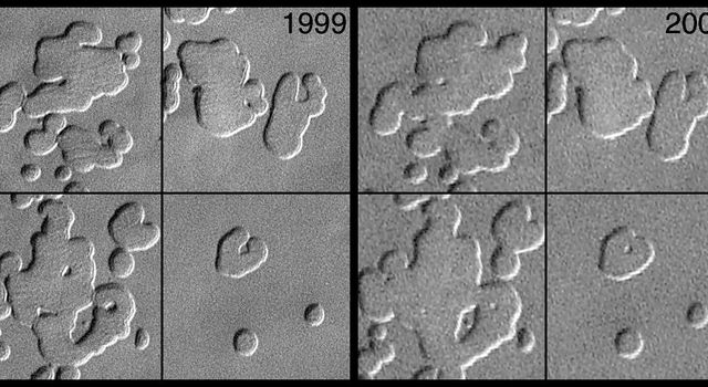NASA's Mars Global Surveyor shows four pictures of pits formed in frozen carbon dioxide in Mars' polar cap.