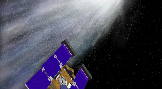 Artist's rendering of NASA's Stardust spacecraft. The spacecraft was launched on February 7, 1999, from Cape Canaveral Air Station, Florida, aboard a Delta II rocket.
