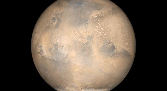 NASA's Mars Global Surveyor shows Mars at opposition and equinox.
