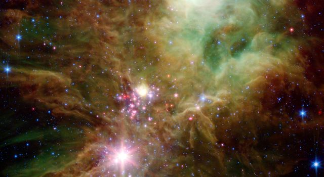 Newborn stars, hidden behind thick dust, are revealed in this image of a section of the Christmas Tree cluster from NASA's Spitzer Space Telescope, a joint effort between Spitzer's infrared array camera and multiband imaging photometer instrument.