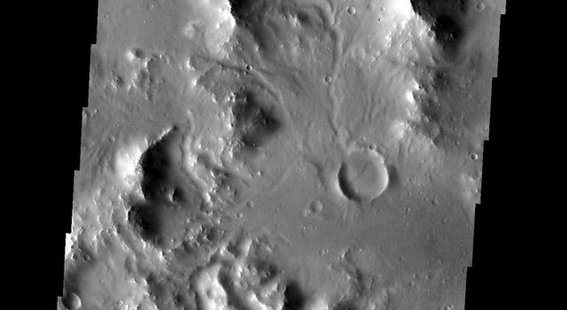 Small channels dissect this region near Nectaris Fossae on Mars as seen by NASA's 2001 Mars Odyssey spacecraft.