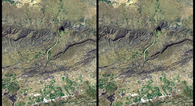 On January 26, 2001 the Kachchh region in western India suffered the most deadly earthquake in India's history. This image is from NASA's Shuttle Radar Topography Mission.