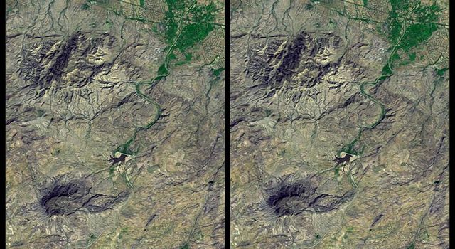 On January 26, 2001, the Kachchh region in western India suffered the most deadly earthquake in India's history. This image is from NASA's Shuttle Radar Topography Mission.