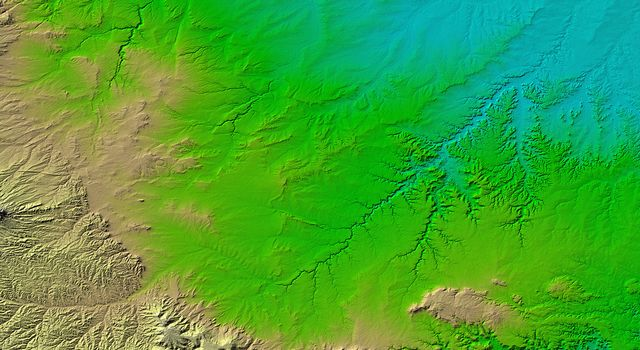 Erosional features are prominent in this view of southern Colorado taken NASA's Shuttle Radar Topography Mission. The area covers about 20,000 square kilometers and is located about 50 kilometers south of Pueblo, Colorado.