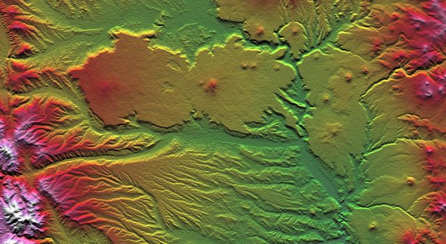 The interplay of volcanism, stream erosion and landslides is evident in this image from NASA's Shuttle Radar Topography Mission of the eastern flank of the Andes Mountains, southeast of San Carlos de Bariloche, Argentina.