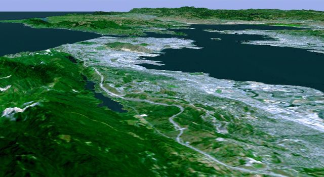 The defining landmarks of San Francisco, California, its bay and the San Andreas Fault are clearly seen in this computer-generated perspective from NASA's Shuttle Radar Topography Mission viewed from the south.