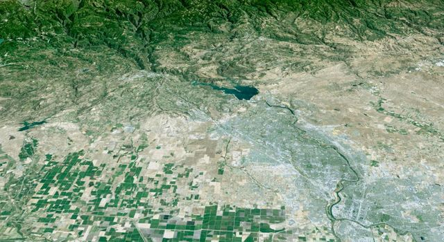 California's state capitol, Sacramento, can be seen clustered along the American and Sacramento Rivers in this computer-generated perspective viewed by from NASA's Shuttle Radar Topography Mission.