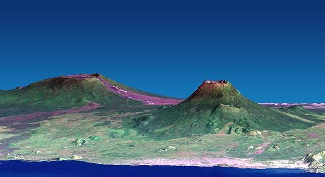 The Nyiragongo volcano in the Congo erupted on January 17, 2002, and subsequently sent streams of lava into the city of Goma on the north shore of Lake Kivu. This image is from NASA's Shuttle Radar Topography Mission.