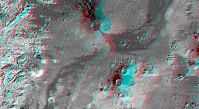 This anaglyph, from NASA's Shuttle Radar Topography Mission, is of the Nyiragongo volcano in the Congo. 3D glasses are necessary to view this image.