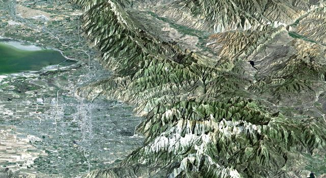 The 2002 Winter Olympics are hosted by Salt Lake City, Utah at several venues within the city, in nearby cities, and within the adjacent Wasatch Mountains as seen by from NASA's Shuttle Radar Topography Mission.