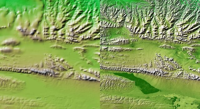 These two images show exactly the same area, part of the Kunlun fault in northern Tibet as seen by NASA's Shuttle Radar Topography Mission.