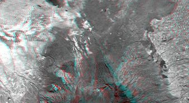 This anaglyph, from NASA's Shuttle Radar Topography Mission, is of Mount Meru, an active volcano located just 70 kilometers (44 miles) west of Mount Kilimanjaro. 3D glasses are necessary to view this image.