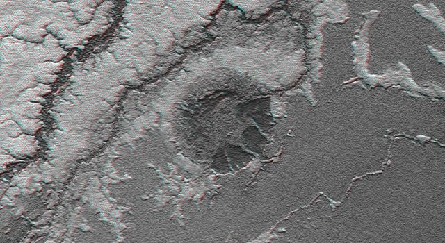 This anaglyph, from NASA's Shuttle Radar Topography Mission, is of the Iturralde Structure, Bolivia, a possible impact crater. 3D glasses are necessary to view this image.