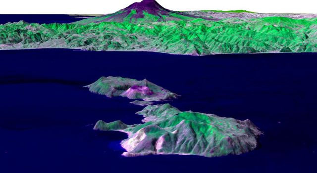 Italy's Mount Etna and the Aeolian Islands are the focus of this perspective view from NASA's Terra spacecraft. The image is looking south with the islands of Lipari and Vulcano in the foreground and Etna with its dark lava flows on the skyline.
