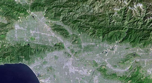 Los Angeles, California and vicinity seen from space, as viewed by NASA's Landsat 7 satellite from an altitude of 437 miles on May 4, 2001.