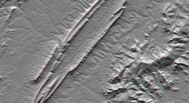 Massanutten Mountain, Virginia, USA (Anaglyph)