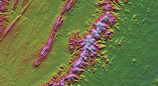 Shenandoah National Park lies astride part of the Blue Ridge Mountains, which form the southeastern range of the greater Appalachian Mountains in Virginia  as seen by NASA's Shuttle Radar Topography Mission.