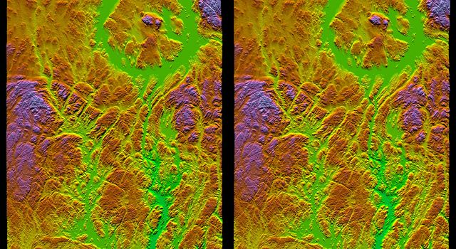Stereo Pair, with Topographic Height as Color, Manicouagan Crater, Quebec, Canada