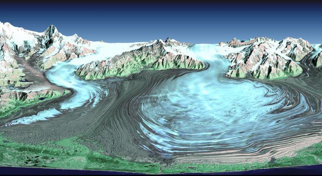 Malaspina Glacier in southeastern Alaska is considered the classic example of a piedmont glacier. Piedmont glaciers occur where valley glaciers exit a mountain range onto broad lowlands, are no longer laterally confined, and spread to become wide lobes.