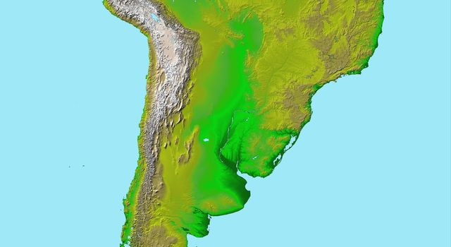 South America, Shaded Relief and Colored Height