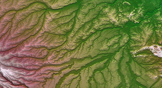 Pando Province, Bolivia, and adjacent parts of Brazil and Peru are seen in this visualization of NASA's Shuttle Radar Topography Mission elevation data covering part of the Amazon Basin.