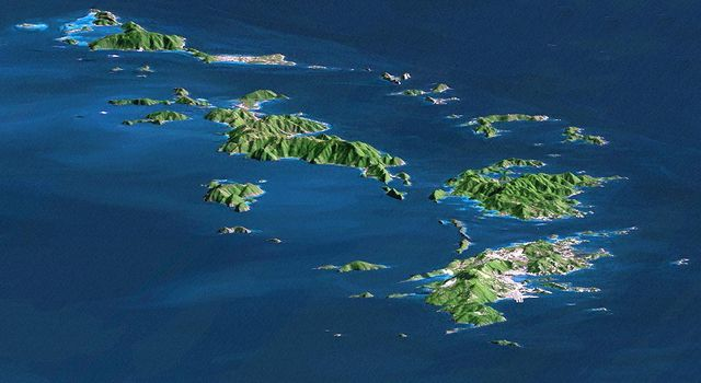 SRTM Perspective with Landsat Virgin Islands, Caribbean