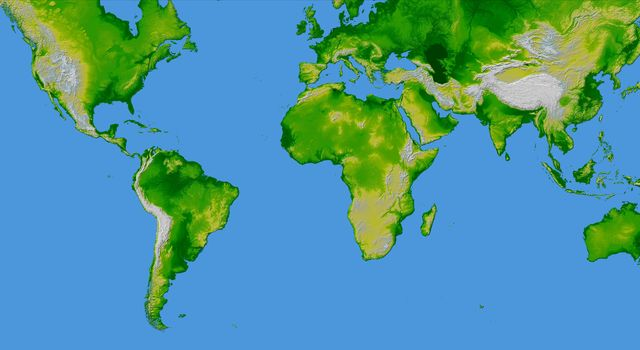 World in Mercator Projection, Shaded Relief and Colored Height