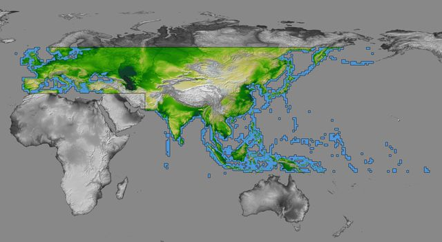 The colored regions of this map show the extent of digital elevation data released by NASA's Shuttle Radar Topography Mission (SRTM). This release includes data for most of Europe and Asia plus numerous islands in the Indian and Pacific Oceans.