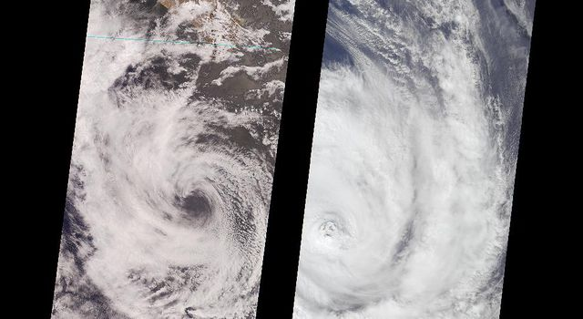 In June, 2000, NASA's Terra satellite compared tropical storms Bud and Dera.