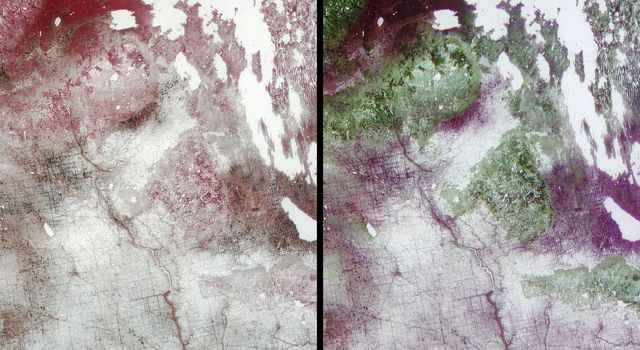 Surface brightness contrasts accentuated by a thin layer of snow enable a network of rivers, roads, and farmland boundaries to stand out clearly in these images from NASA's Terra satellite of southeastern Saskatchewan and southwestern Manitoba.