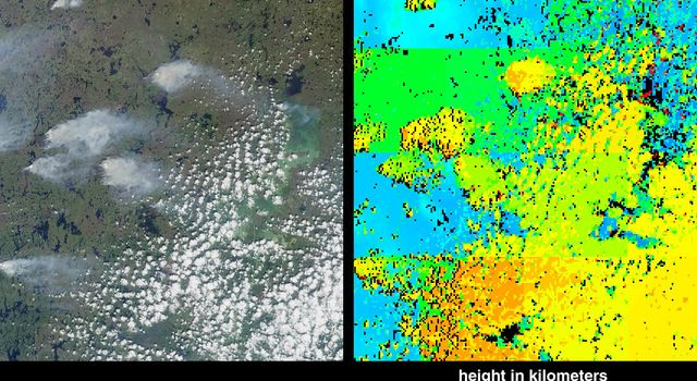 Fire season in Manitoba, Canada lasts from April until October, and numerous smoke plumes caused by lightning strikes are captured in these from views NASA's Terra satellite of the northwestern part of the province; data were acquired on June 20, 2001.