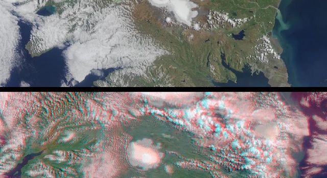 Two of Iceland's larger icecaps, Langjökull (located just below image center) and Hofsjökull (just above center) can be clearly seen in this anaglyph from the MISR instrument aboard NASA's Terra spacecraft. 3D glasses are necessary to view this image.
