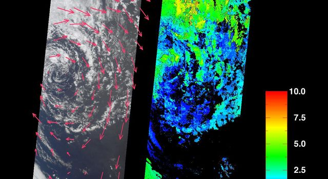 These images acquired on October 11, 2001 by NASA's Terra satellite portray an occluded extratropical cyclone situated in the Southern Ocean, about 650 kilometers south of the Eyre Peninsula, South Australia.