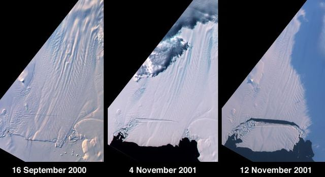 A large tabular iceberg (42 kilometers x 17 kilometers) broke off Pine Island Glacier, West Antarctica (75º S latitude, 102º W longitude) sometime between November 4 and 12, 2001, as seen by NASA's Terra satellite.