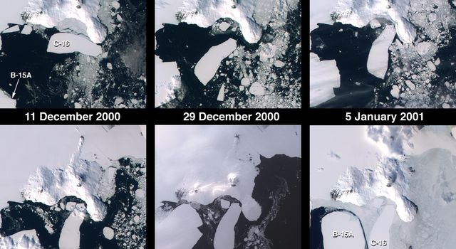 These images from  NASA's Terra satellite documented iceberg movements and changes in sea ice between December 11, 2000 and December 9, 2001.