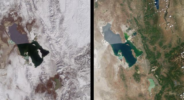 Magnificent views of the region surrounding Salt Lake City, Utah are captured in these winter and summer images from NASA's Terra satellite imaged on February 8, 2001 and June 16, 2001.