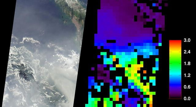 These data products from NASA's Terra satellite document the presence of airborne particulates on March 13, 2002, during Terra orbit 11880. At least once a year for a period lasting from a week to several months, northern Sumatra is obscured by smoke and
