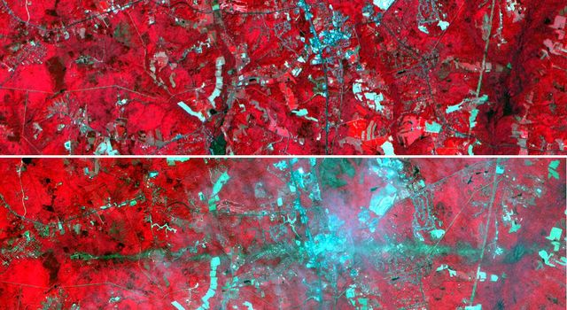 These images acquired by NASA's Terra satellite are of La Plata, Maryland.