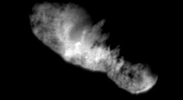This was the final image of the nucleus of comet Borrelly, taken just 160 seconds before NASA's Deep Space1 spacecraft's closest approach to it.