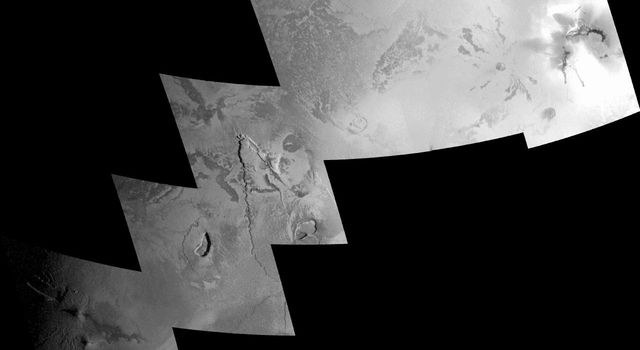 The source area of what had been a towering volcanic plume two months earlier lies in the far-right frame of this mosaic of images taken of Jupiter's moon Io by NASA's Galileo spacecraft on Oct. 16, 2001.