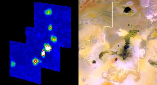 The Amirani lava flow on Jupiter's moon Io appears to be made up of many individual flows; the newest flows are the brightest spots in this infrared image from NASA's Galileo spacecraft.