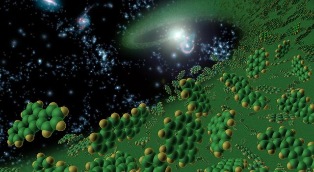 This artist's conception symbolically represents complex organic molecules, known as polycyclic aromatic hydrocarbons, seen in the early universe. These large molecules, comprised of carbon and hydrogen, are considered among the building blocks of life.