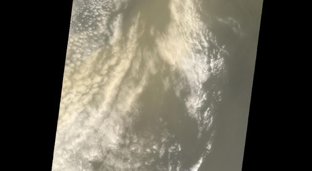 This image, captured by NASA's Terra satellite on July 20, 2005, shows the dust cloud just off the west coast of Africa near Mauritania and Senegal.