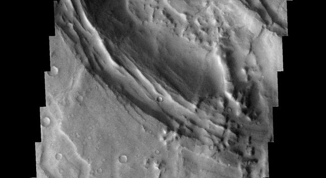 This image from NASA's 2001 Mars Odyssey spacecraft shows part of the caldera rim of Nili Patera on Mars. Dunes are located within the caldera.