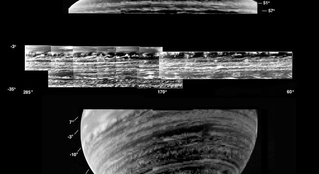 This is a collection of the most detailed images of deep-level clouds obtained by the visual and infrared mapping spectrometer onboard NASA's Cassini spacecraft.