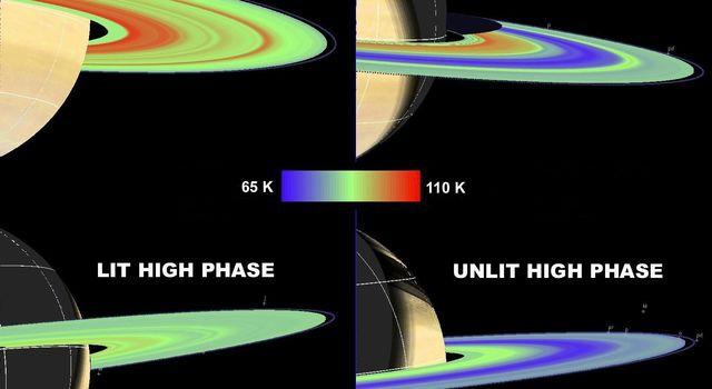 NASA's Cassini composite infrared spectrometer obtained temperature maps of Saturn's main rings (A, B and C) that showed ring temperatures decreasing with increasing solar phase angle on both the lit and unlit sides of the rings.